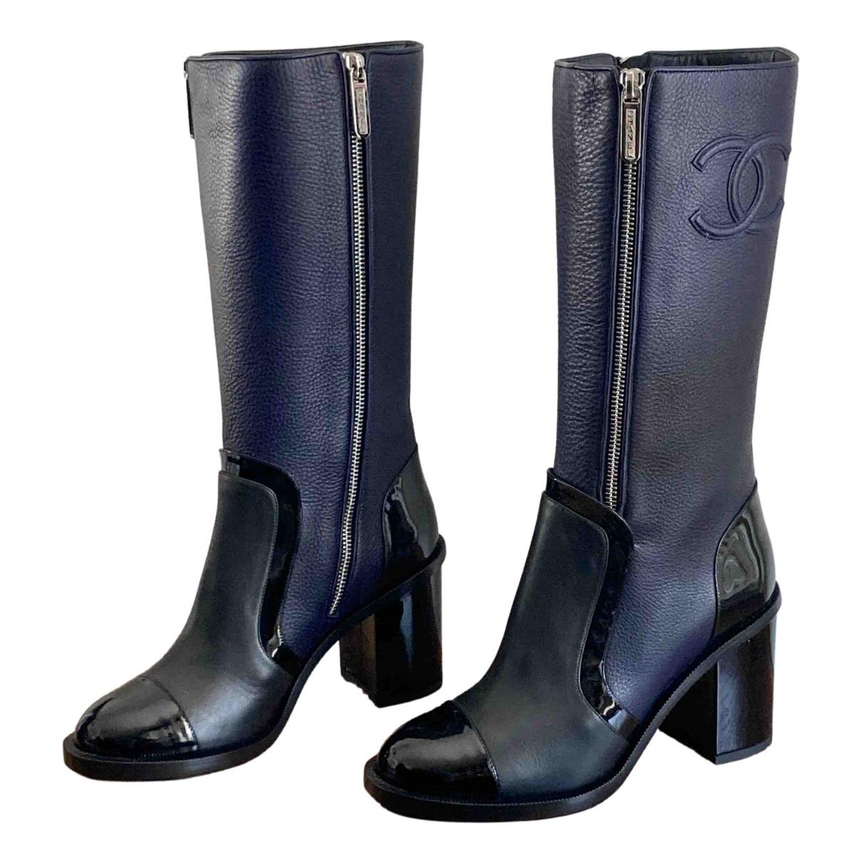 Chanel - Bottes   pour femme en cuir - marine