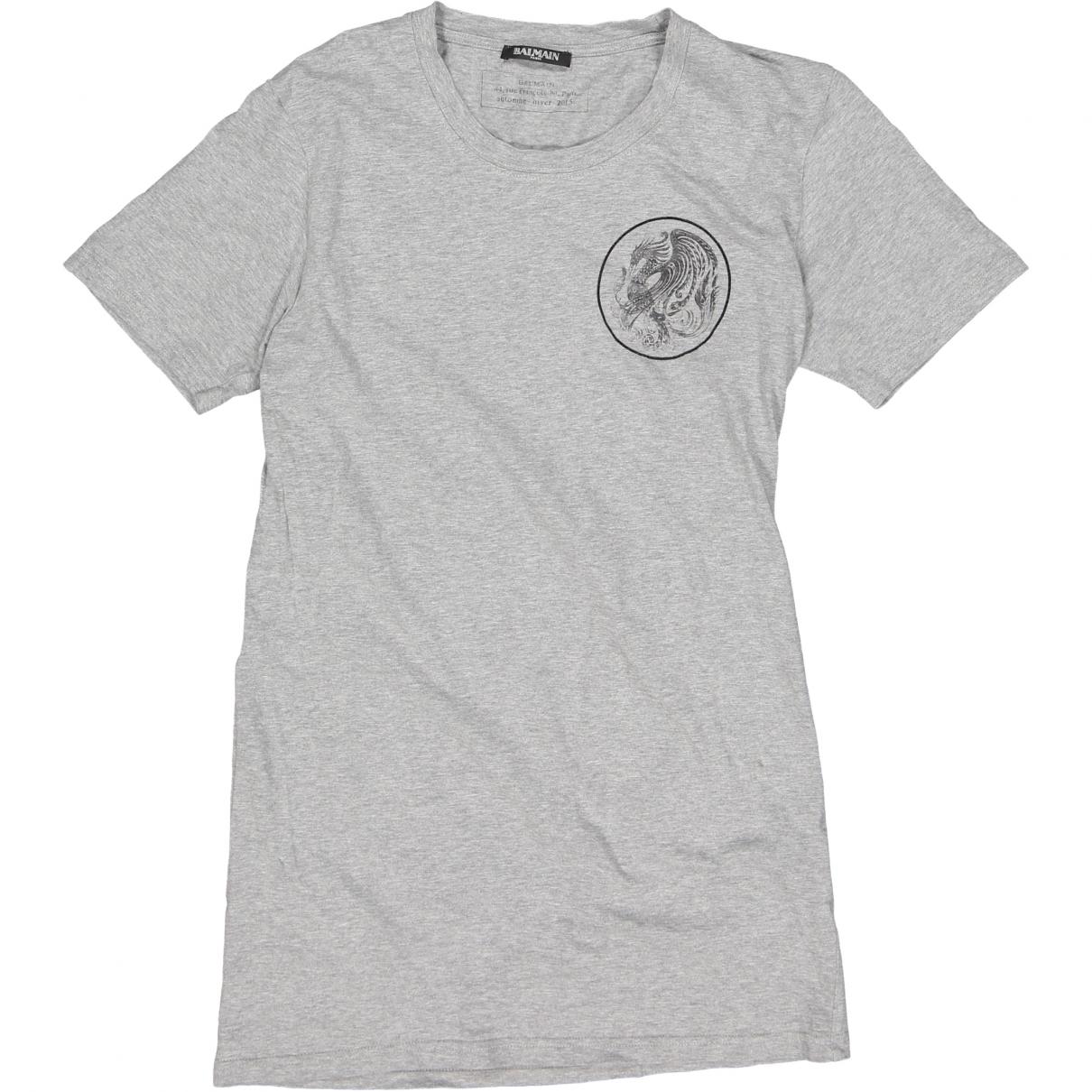 Balmain \N Grey Cotton T-shirts for Men S International
