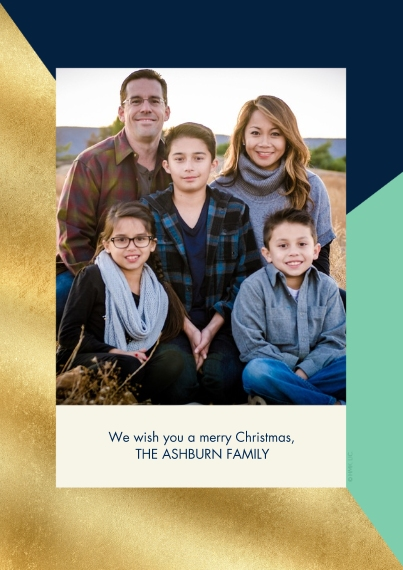 Christmas Photo Cards 5x7 Cards, Standard Cardstock 85lb, Card & Stationery -Navy, Mint & Gold Framed Family Photo by Hallmark