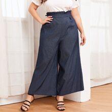 Plus Ruffle Waist Wide Leg Jeans