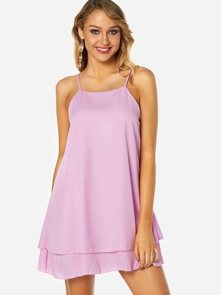 Yoins Pink Adjustable Shoulder Straps Square Neck Sleeveless Mini Dress