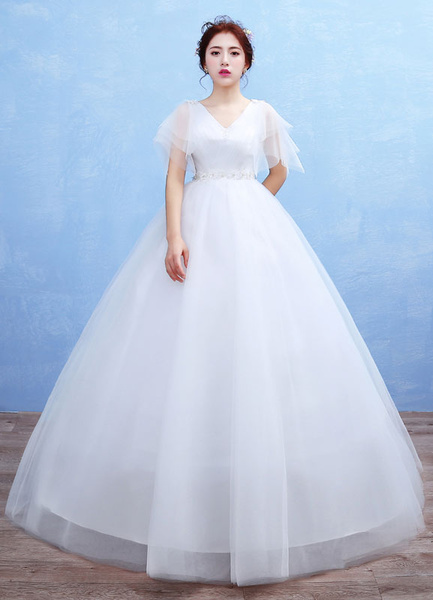 Milanoo Flores de novia vestido tul V cuello largo vestido de novia imperio cintura rebordear media manga piso vestido nupcial vestido de