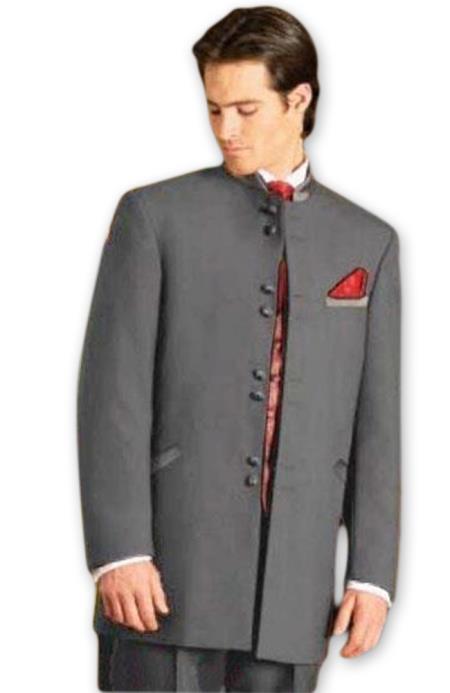 Men's Mandarin Tuxedo Single Breasted Medium Grey Suit