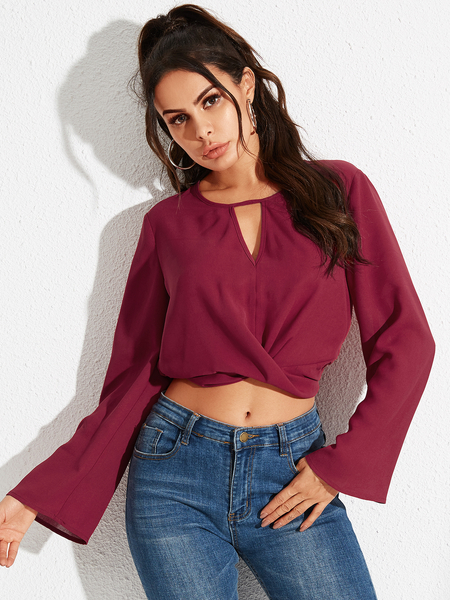 YOINS Burgundy Crossed Front Design Round Neck Long Sleeves Blouse