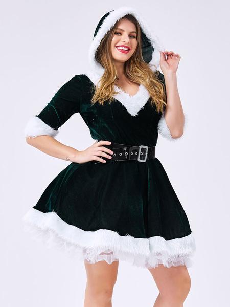 Milanoo Women Christmas Costume V Neck Furry Velour Skater Dress Dark Green Holidays Costumes