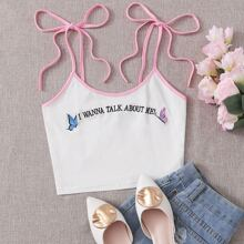 Embroidered Butterfly Graphic Self-Tie Cami Top