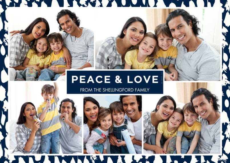 Christmas Photo Cards 5x7 Cards, Premium Cardstock 120lb, Card & Stationery -Peace and Love Border