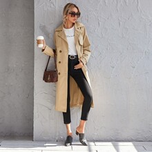 Notched Collar Double Breasted Belted Trench Coat