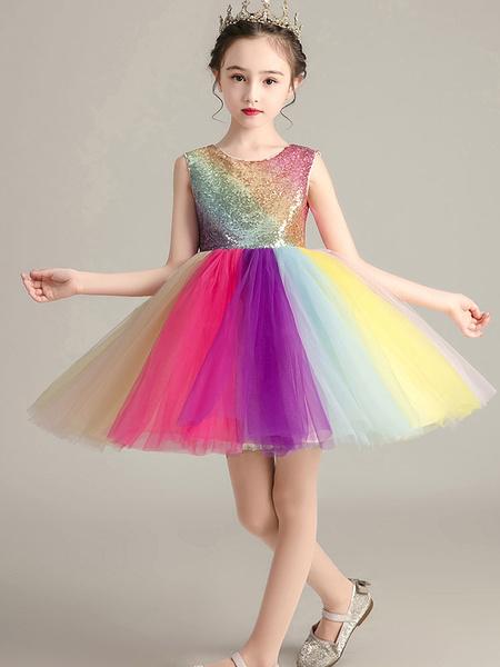 Milanoo Flower Girl Dresses Jewel Neck Tulle Sleeveless Knee-Length Kids Pageant Dresses
