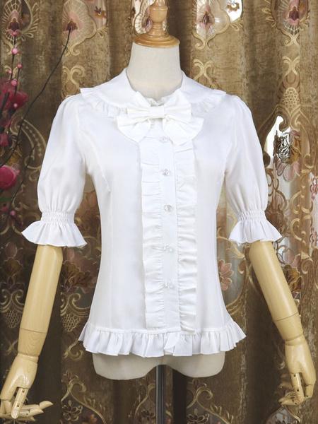 Milanoo Sweet Lolita Shirt Bow Frill Peter Pan Collar Black Chiffon Half Sleeve Lolita Top