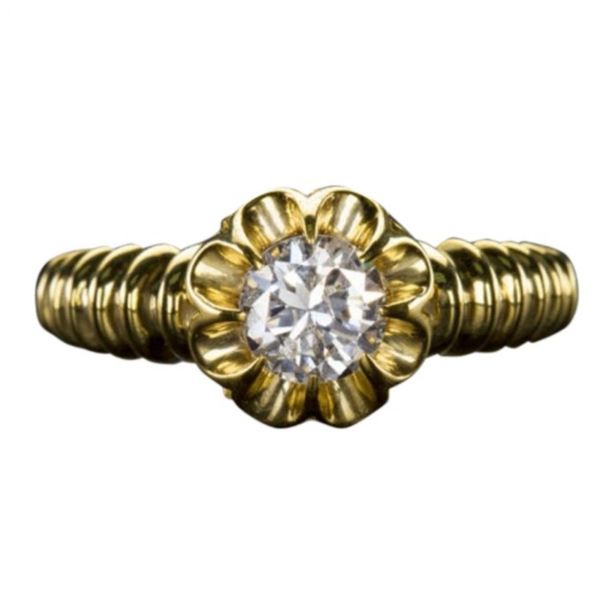 Non Signé / Unsigned Solitaire Gold Yellow gold ring for Women 52 MM