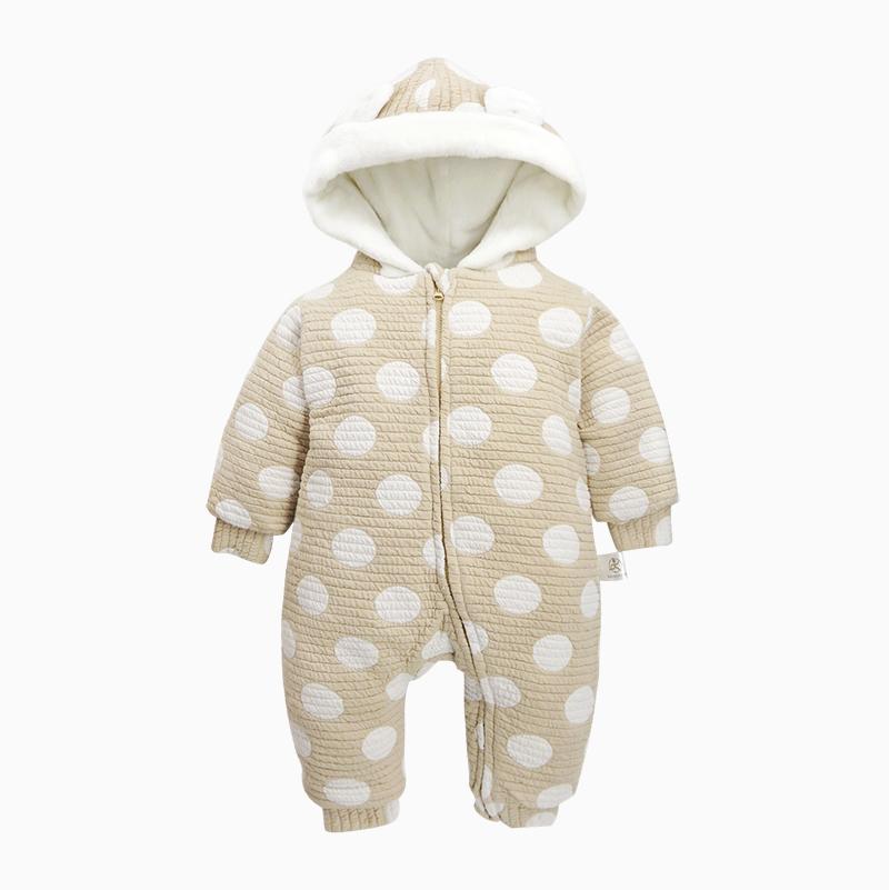 Polka Dot Cotton and Velvet Yellow Baby Sleeping Bag/Jumpsuit