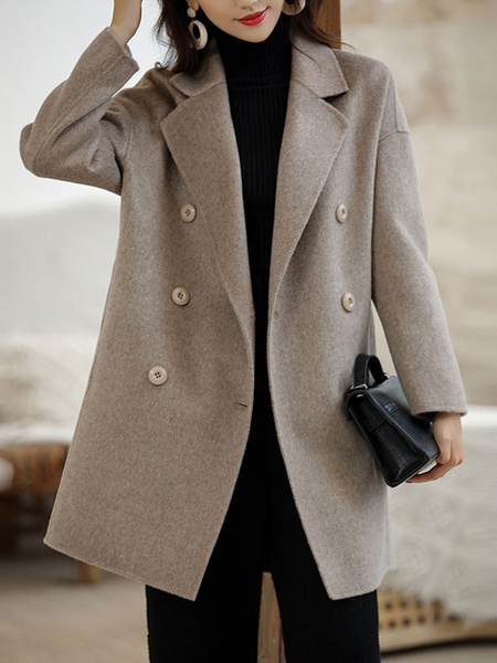 Milanoo Woman Coat Turndown Collar Buttons Grey Maxi Coat Winter Coat For Women