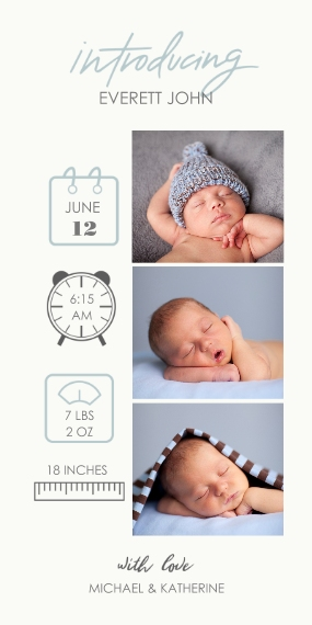 Baby Boy Announcements Flat Matte Photo Paper Cards with Envelopes, 4x8, Card & Stationery -Baby Icons Blue