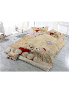 Adorable Bear Doll Wear-resistant Breathable High Quality 60s Cotton 4-Piece 3D Bedding Sets