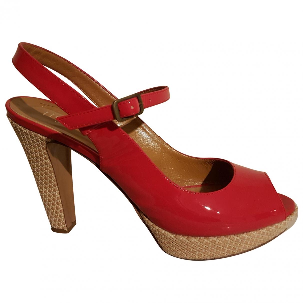 Hobbs - Sandales   pour femme en cuir verni - rouge