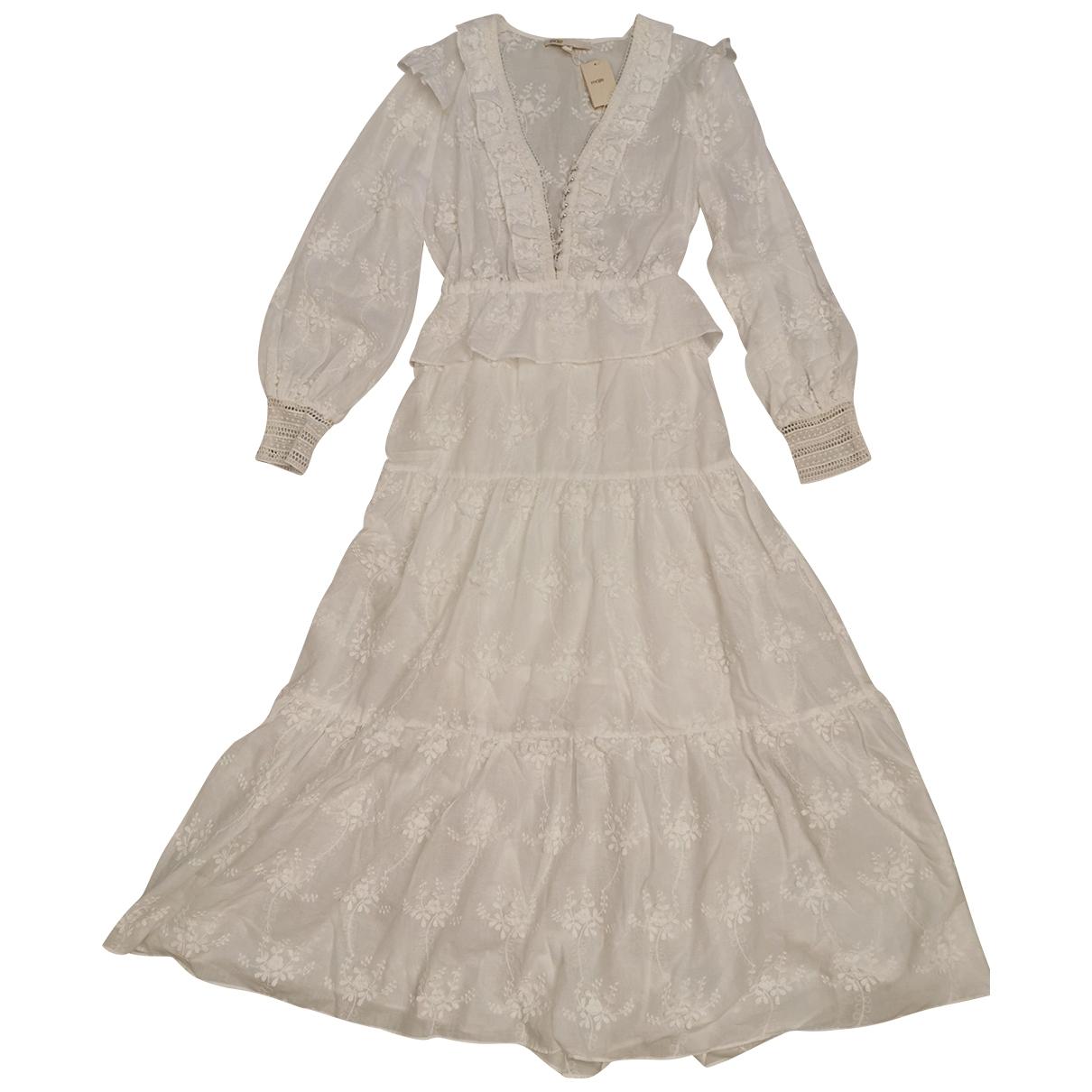 Maje Spring Summer 2020 Kleid in  Weiss Baumwolle