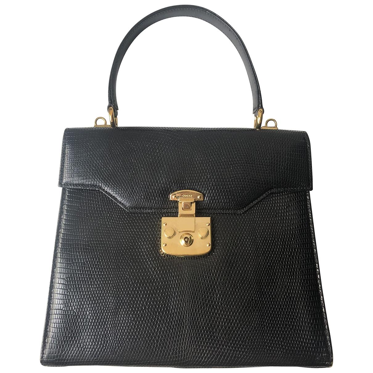 Gucci - Sac a main   pour femme en cuir exotique - noir