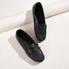 Flache Loafers mit Schleife Dekor