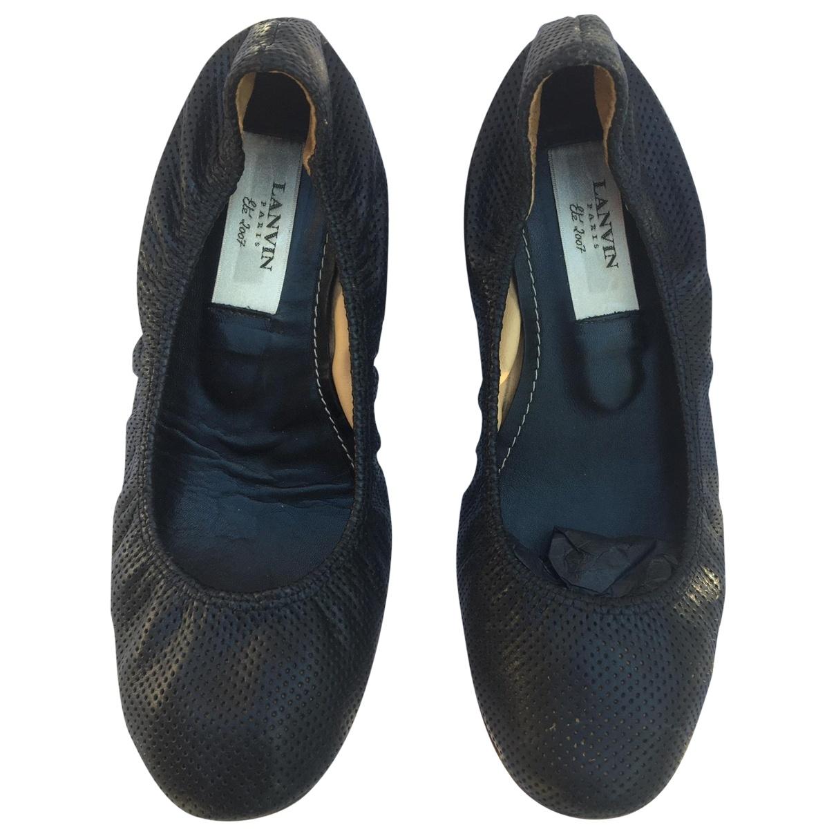 Lanvin \N Ballerinas in  Schwarz Leder