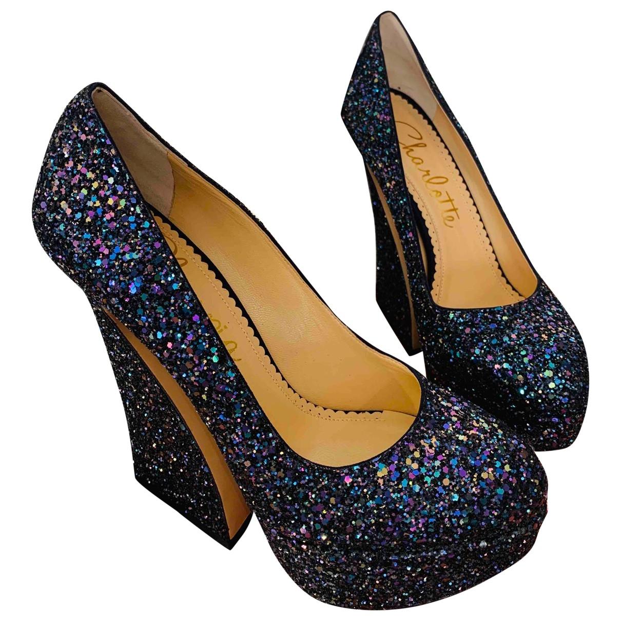 Charlotte Olympia \N Blue Glitter Heels for Women 38.5 EU