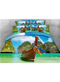 Phi Phi Islands and Boat Printed Cotton 3D 4-Piece Bedding Sets/Duvet Covers
