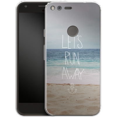 Google Pixel XL Silikon Handyhuelle - Lets Run Away - Sandy Beach von Leah Flores