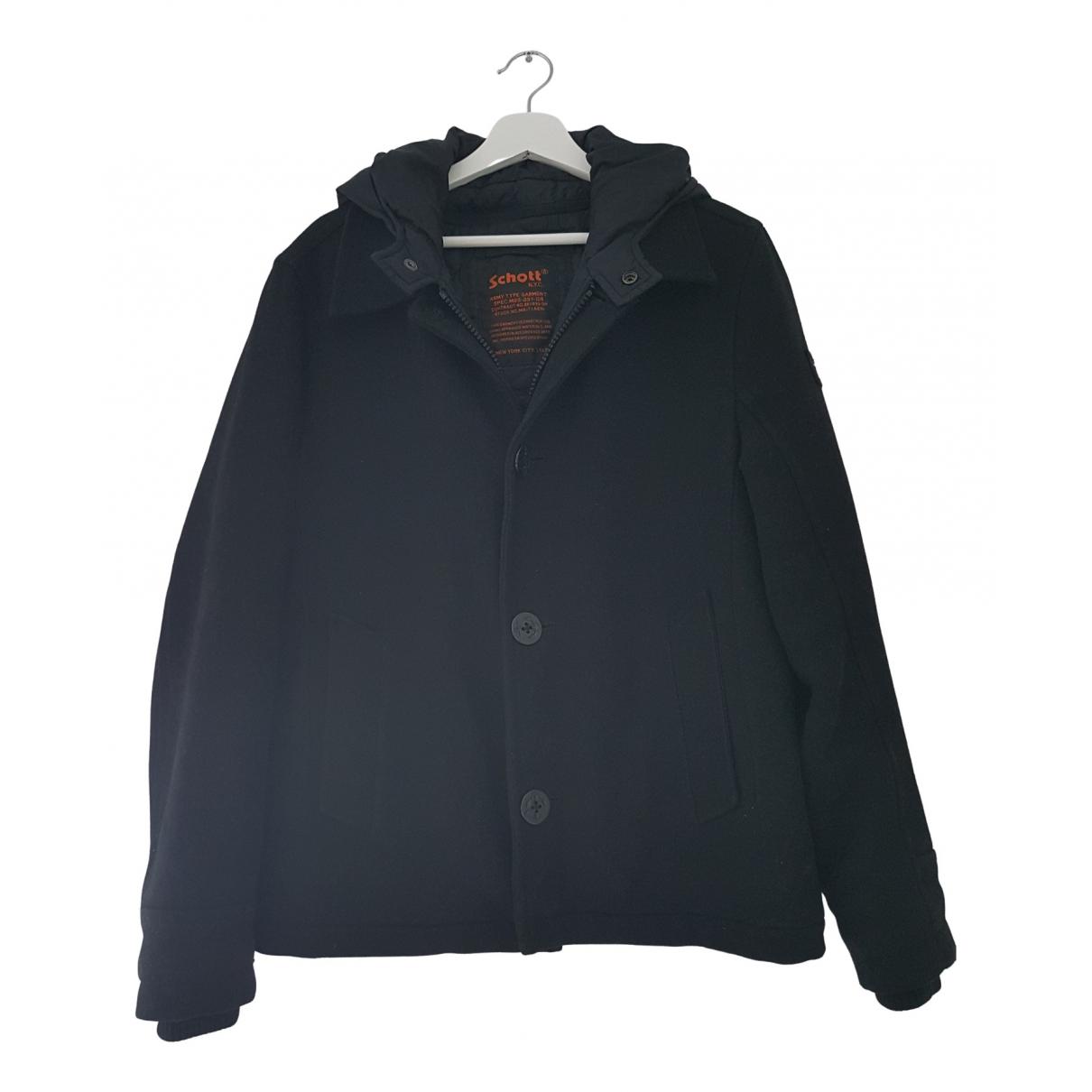 Schott \N Jacke in  Schwarz Wolle