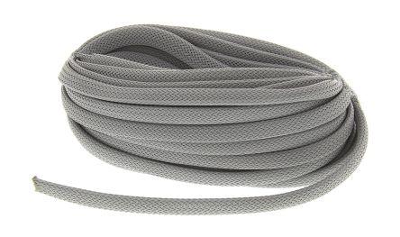 HellermannTyton Expandable Braided Nylon 66 Grey Cable Sleeve, 8mm Diameter, 10m Length