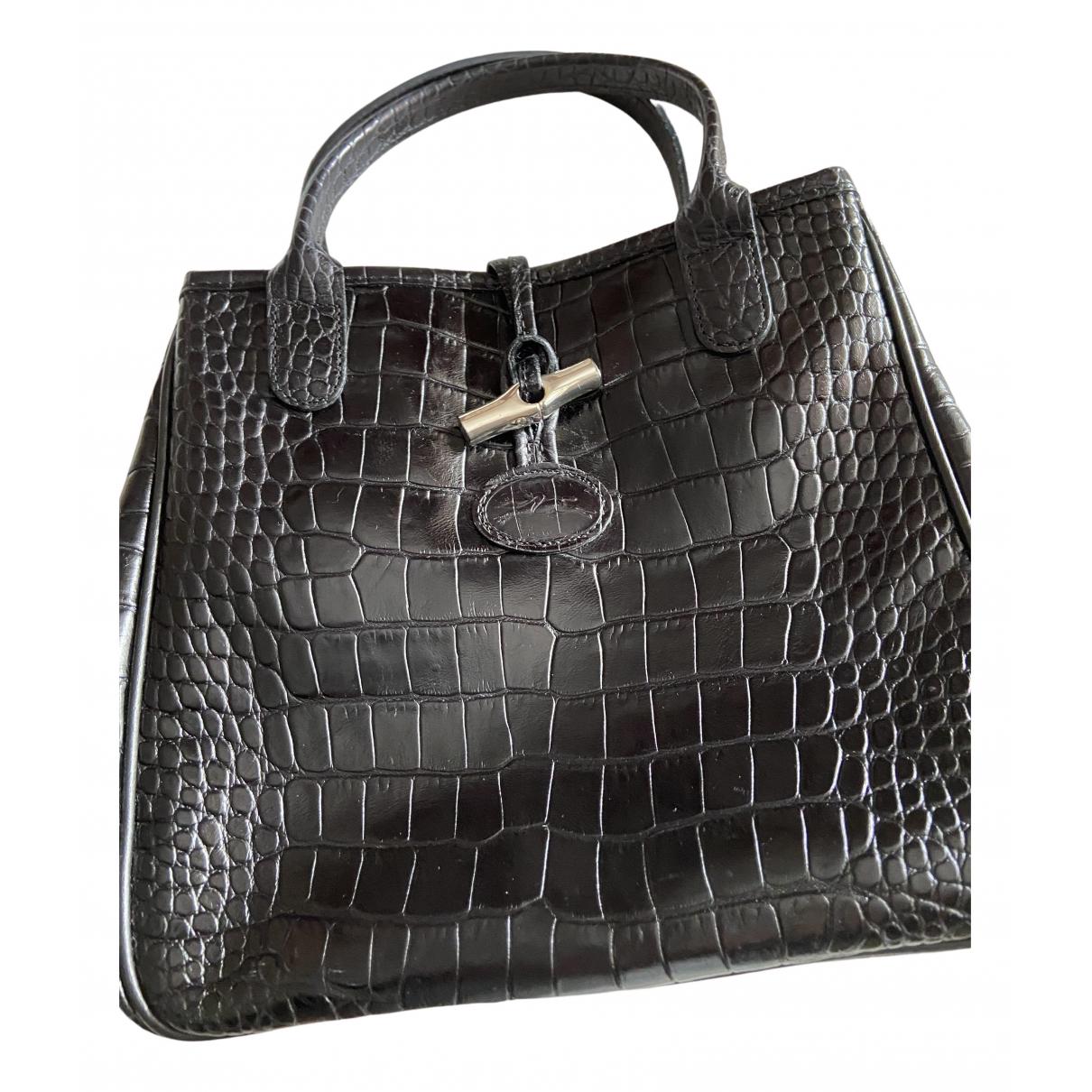 Longchamp - Sac a main Roseau pour femme en cuir - noir