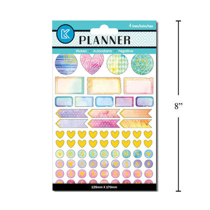 Self-Adhesive Planner Stickers, Symbolic Gestures Design, 125mm x 170mm, 4 Sheets