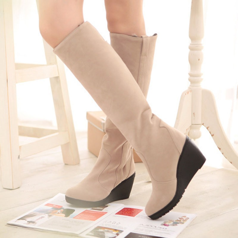 Ericdress Round Toe Plain Wedge Heel Casual Boots