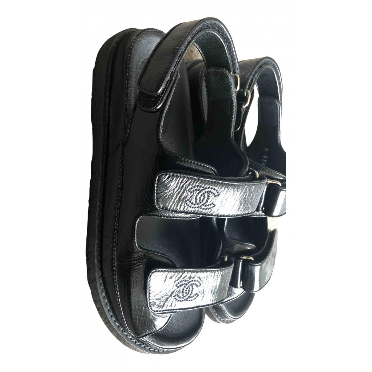 Chanel Dad Sandals Sandalen in  Schwarz Lackleder