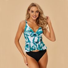 Tropical Knot Front Ruffle Hem Bikini Swimsuit