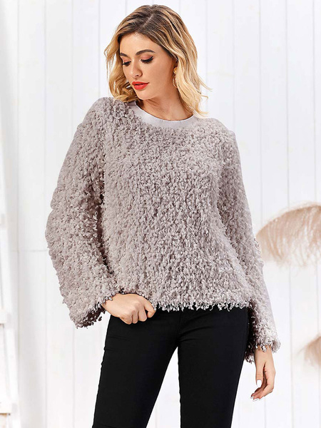 Milanoo Women\'s Hoodie White Long Sleeves Acrylic Hooded Sweatshirt
