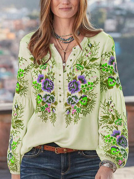 Milanoo Women Blouse Floral Embroidered V Neck Long Sleeves Shirt Tops