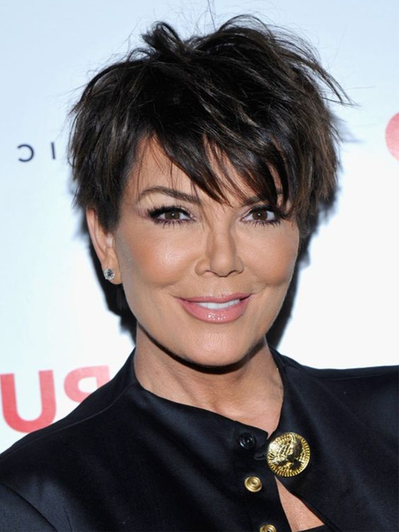 Ericdress Short Pixie Cut Hairstyles Women's Straight Human Hair Wigs With Bangs Lace Front Wigs 8Inch