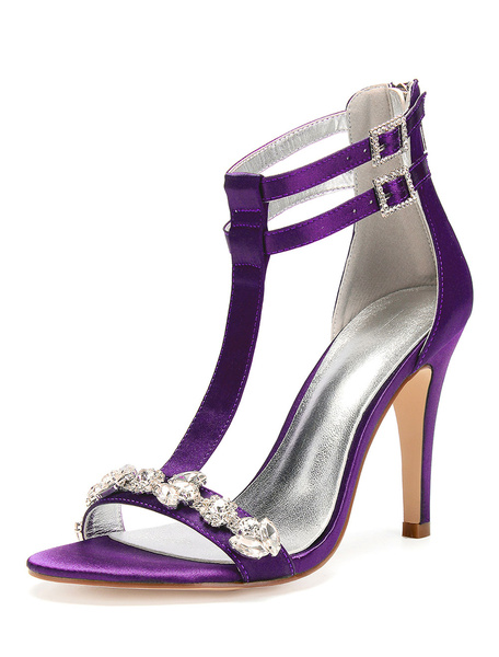 Milanoo Silver Wedding Shoes Satin Open Toe Rhinestones T Type Ankle Strap Bridal Shoes High Heel Sandals