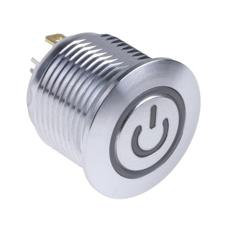 RS PRO Single Pole Single Throw (SPST) Momentary RGB LED Push Button Switch, IP67, 16 (Dia.)mm, Panel Mount, Power (20)