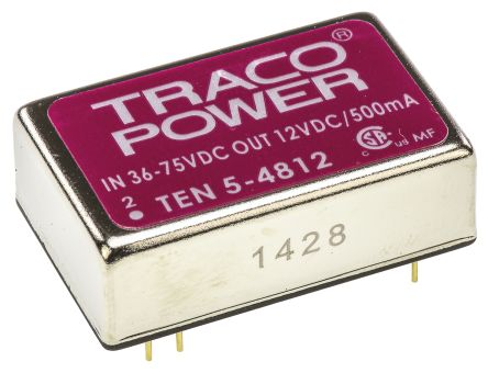 TRACOPOWER TEN 5 6W Isolated DC-DC Converter Through Hole, Voltage in 36 → 72 V dc, Voltage out 12V dc