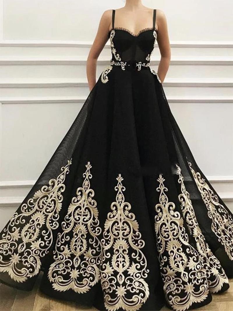 Ericdress Sleeveless Pockets Spaghetti Straps Evening Dress 2020