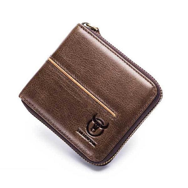 Men Casual Genuine Leather Multi-Card Card Holder Zipper Wallet
