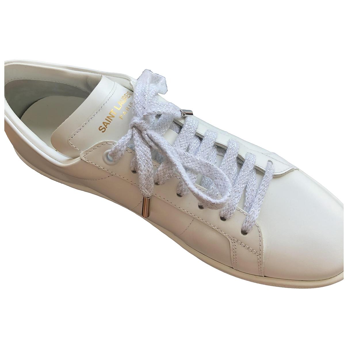 Saint Laurent SL/01 White Leather Trainers for Women 38 EU