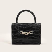 Chain Decor Croc Embossed Satchel Bag