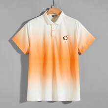 Farbverlauf Polo Shirt mit Flicken Detail