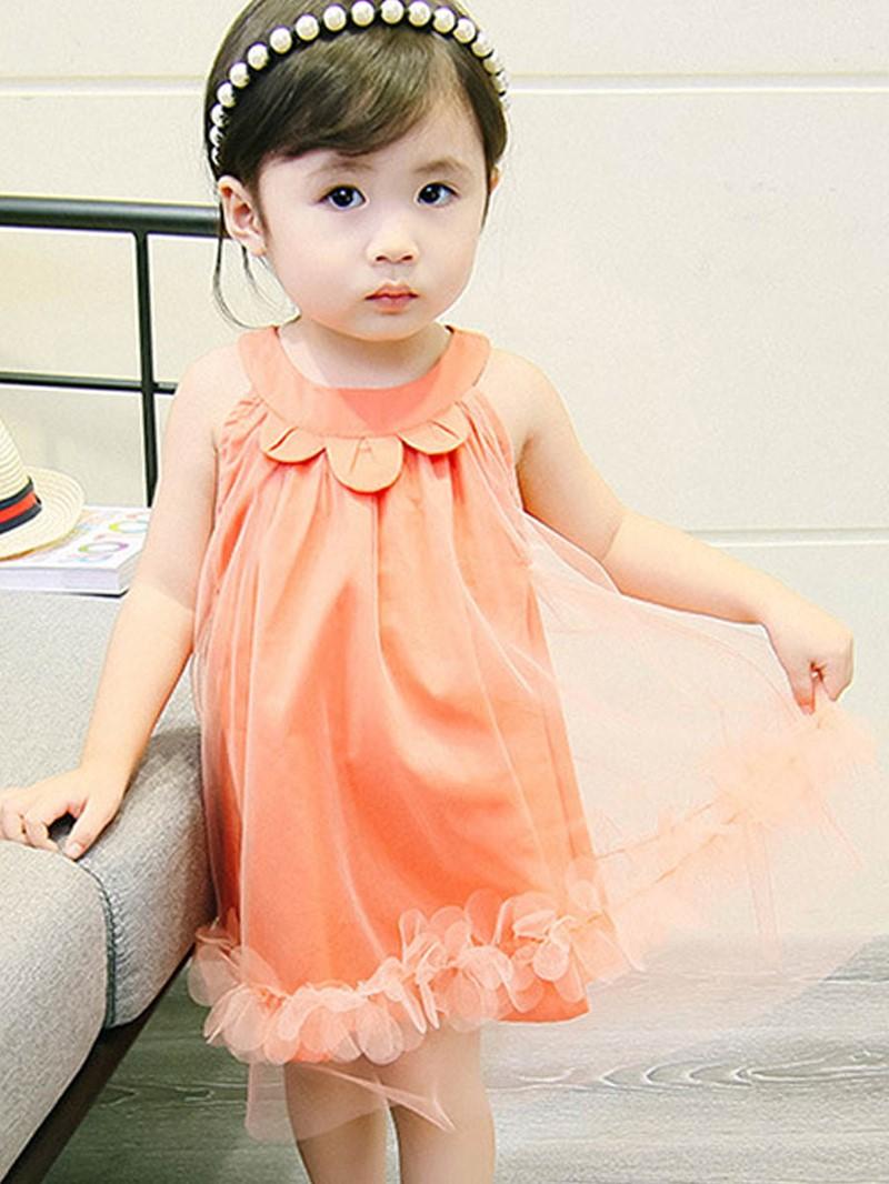Ericdress Mesh A-Line Plain Baby Girl's Sleeveless Dress