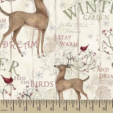 Winter Garden Panel Cotton Fabric, One Size , Beige