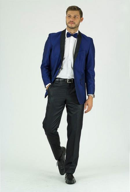 Men's Royal Single Breasted Shawl Lapel Side Vents Classic Fit Jacket