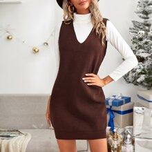 V-neck Sleeveless Sweater Dress Without Top
