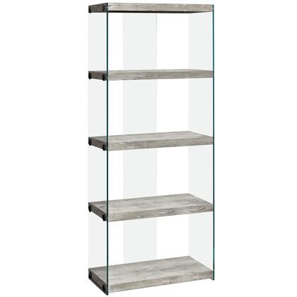 333539 24 Bookcase with 4 Fixed Clear Tempered Glass Shelves  Clear Glass Side Panels  Laminated and Particle Board Construction in Gray